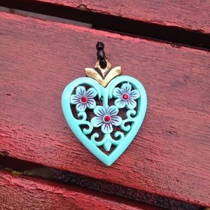 Vintage Baby Blue Heart Pendant